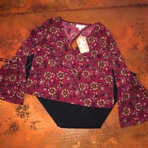 NWT - Band of Gypsies Bell Sleeve Floral Blouse